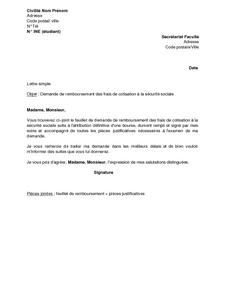 Lettre de demande de remboursement des frais de cotisation la s curit soci - Courrier demande de remboursement ...