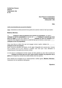 Lettre De Demande De Remboursement Des Loyers Payes A Une Autre Caution Solidaire Modele De Lettre Gratuit Exemple De Lettre Type Documentissime