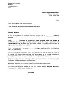 Lettre De Demande De Remise En Etat Du Logement Au Locataire Modele De Lettre Gratuit Exemple De Lettre Type Documentissime