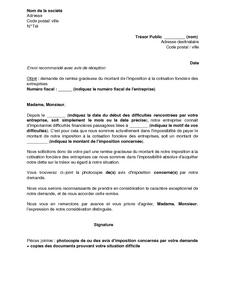 Lettre De Demande De Remise Gracieuse De La Cotisation Fonciere Des