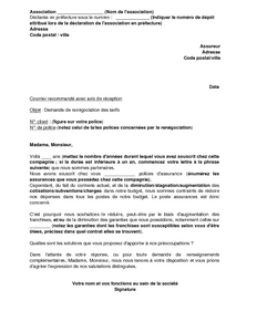 Exemple gratuit de lettre demande ren gociation prime assurance par association - Documents pret immobilier ...