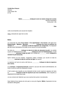 Exemple Gratuit De Lettre Demande Report Vente Immobilière