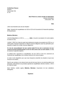 Lettre De Demande De Requalification Du Cdd En Cdi Par Le Salarie