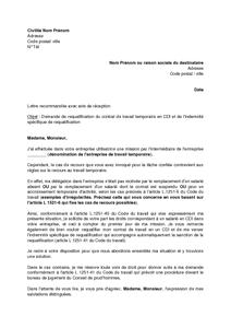 Exemple gratuit de Lettre demande requalification contrat travail