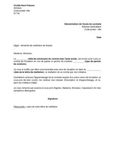 Exemple gratuit de lettre demande restitution dossier auto cole - Delai restitution caution ...