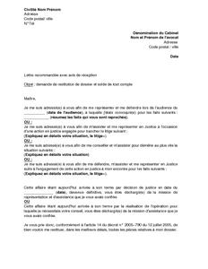 Lettre De Demande De Restitution De Dossier Aupres D Un Avocat Et