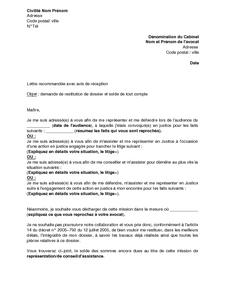 Lettre De Demande De Restitution De Dossier Auprès D Un