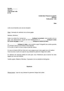 Exemple Gratuit De Lettre Demande Restitution Chose Gagee Suite