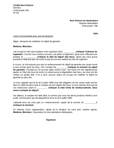 Exemple gratuit de lettre demande restitution d pot garantie - Delai restitution caution location ...