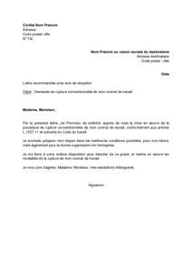 Lettre de demande de rupture conventionnelle du contrat de travail par le salarié , modèle de lettre gratuit, exemple de lettre type