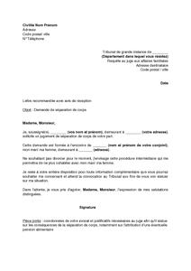 Lettre De Demande De Separation De Corps Au Juge Aux Affaires