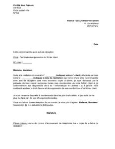 Lettre De Demande De Suppression Du Fichier Client France Telecom