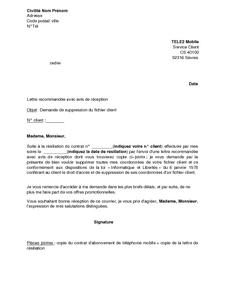 Lettre De Demande De Suppression Du Fichier Client Tele2