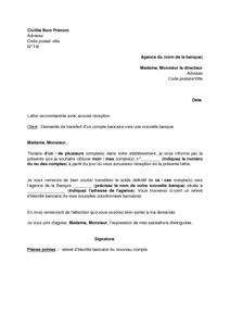 b66c412bf07 Exemple gratuit de Lettre demande transfert un compte bancaire vers  nouvelle banque