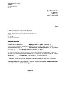 lettre de motivation suite demenagement