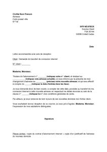 Lettre De Demande De Transfert De Connexion Internet Sfr
