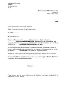Lettre De Demande De Transfert De Ligne Téléphonique Neuf