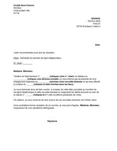 Exemple Gratuit De Lettre Demande Transfert Ligne Telephonique