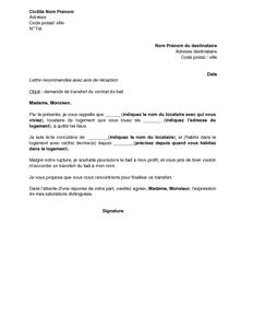 Exemple Gratuit De Lettre Demande Transfert Contrat Bail