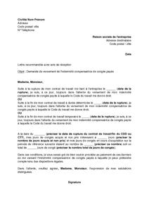 bed419b71e3 Lettre de demande de versement de l indemnité compensatrice de ...