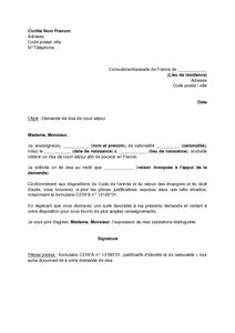 Exemple Gratuit De Lettre Demande Visa Court Séjour Par étranger