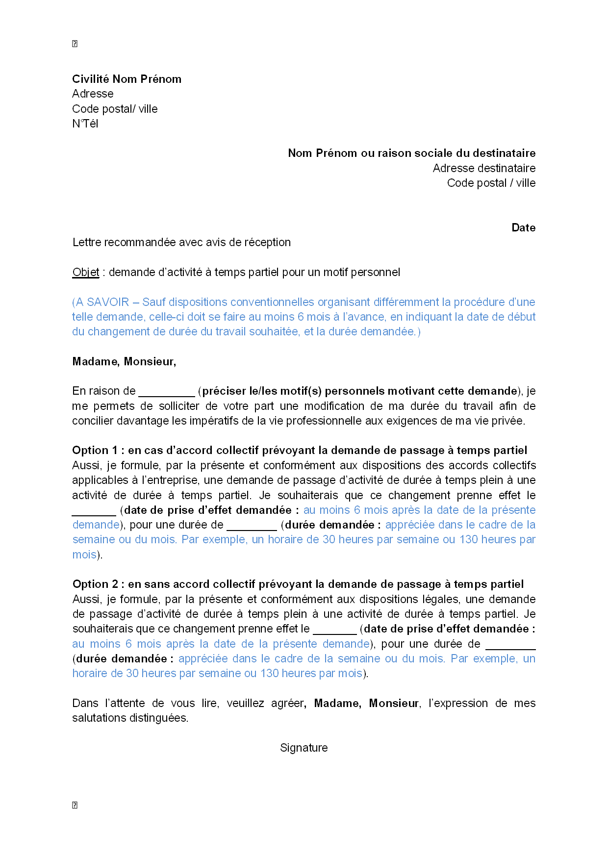lettre de demande  par le salari u00e9  d u0026 39 activit u00e9  u00e0 temps partiel pour un motif personnel divers