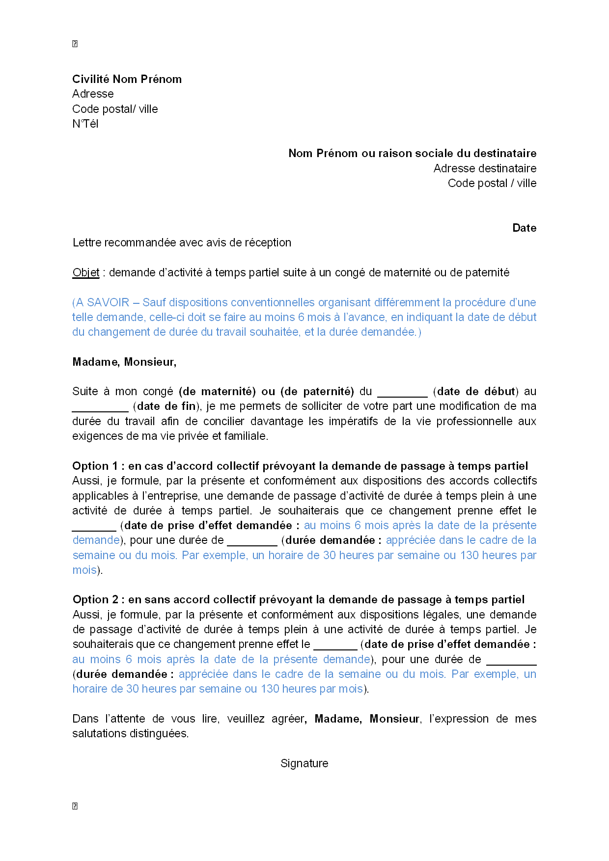 modele lettre conge parental education nationale