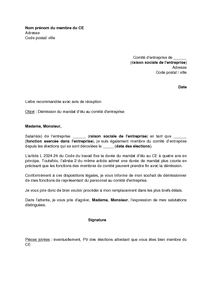 modele lettre de demission d une association