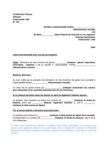 Lettre De Demission Du Gerant D Une Sarl Modele De Lettre Gratuit