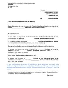 Lettre De Demission Du President Du Conseil D Administration D Une