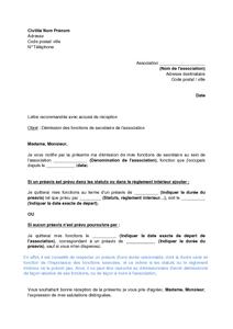 Exemple Gratuit De Lettre Démission Secrétaire Une Association
