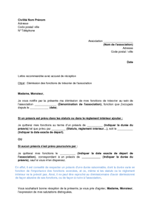 lettre de demission association tresorier
