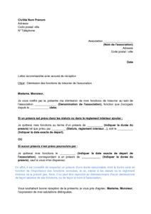 Lettre De Demission Du Tresorier D Une Association De Loi 1901