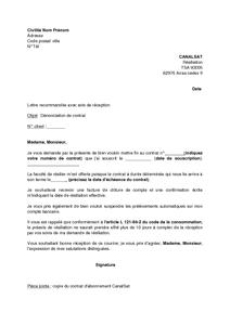 Exemple gratuit de Lettre dénonciation contrat abonnement CanalSat : refus tacite reconduction ...