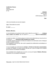 modele lettre resiliation internet orange