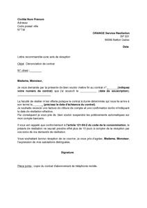 Modele De Lettre De Resiliation Du Contrat D Abonnement Mobile