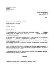Lettre De Dénonciation Du Contrat D Abonnement Téléphonique