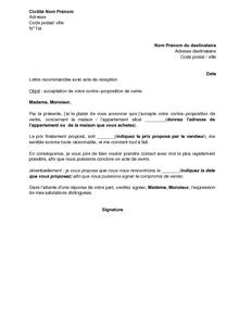 Lettre de l 39 acheteur acceptant la contre proposition du for Annulation offre d achat maison