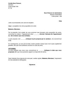 Lettre De L Acheteur Acceptant La Proposition Du Vendeur D