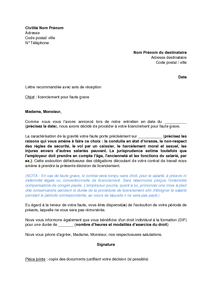 Lettre De Licenciement Du Salarie Pour Faute Grave Modele De