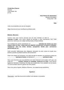 Lettre De Licenciement Du Salarie Pour Insuffisance Professionnelle