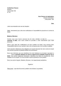Lettre De Licenciement Pour Refus Des Modifications Par Le Salarie
