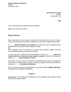 Lettre De Mise A La Retraite D Un Salarie Par L Employeur Modele De Lettre Gratuit Exemple De Lettre Type Documentissime