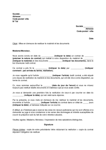 Lettre mise en demeure non restitution caution document online - Restitution depot de garantie location ...