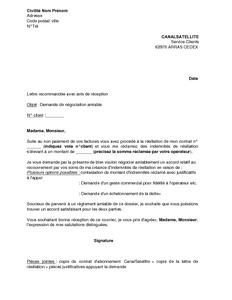 lettre de resiliation contrat canal satellite