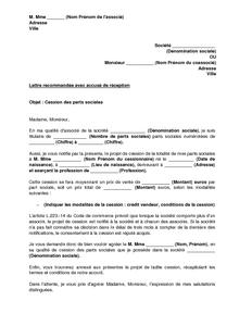 Lettre De Notification D Un Projet De Cession De Parts Sociales