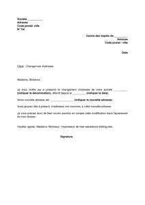 Exemple Gratuit De Lettre Notification Changement Adresse