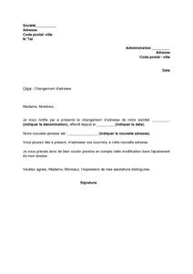 Lettre De Notification De Changement D Adresse De La Societe