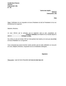 Lettre De Notification De L Inoccupation Et Du Non Ameublement D Un