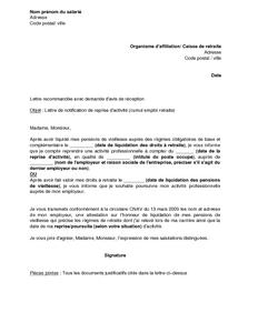 Lettre De Notification De Reprise D Activite Par Un Retraite A La